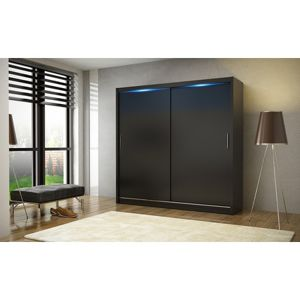 Kvalitní šatní skříň KOLA 2 černá šířka 180 cm Bez LED osvětlení