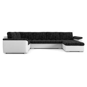 Rozkládací rohová sedací souprava VEGAS 315/190 Černá/bílá eko-kůže Pravá