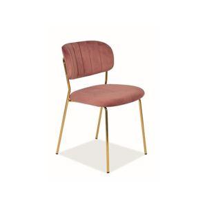 Židle CARLO zlatá/růžová